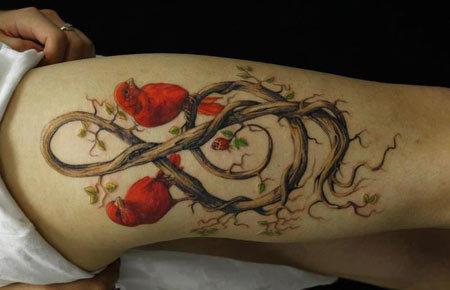 music and birds tattoo