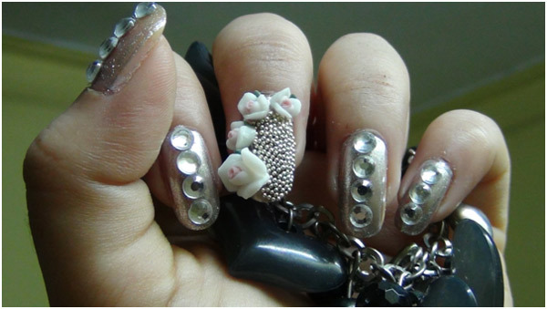 Silver Nail Art - Place Ceramic Flowers on Middle Finger