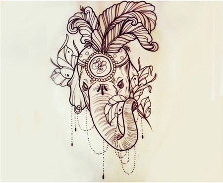 ornate elephant tattoo