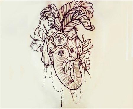ornate elephant tattoo