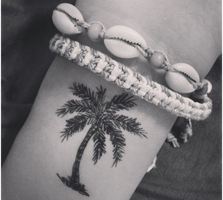 palm tree wrist tattoo