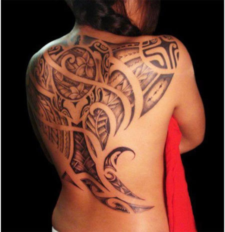 polynesian back tattoo designs