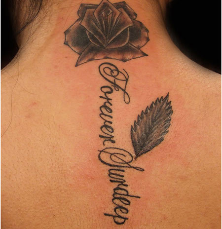 roses and names tattoos