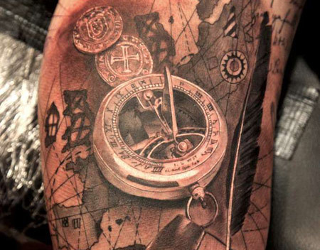 sailors compass tattoo