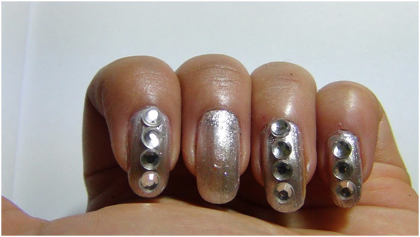 Silver Nail Art Tutorial - Step 3: Fix The Rhinestones