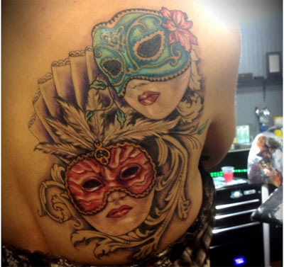 spanish mask tattoo