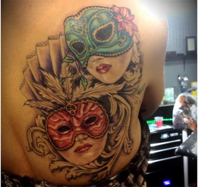 spanish mask tattoo