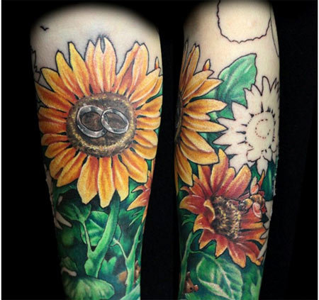 sunflower armband tattoo