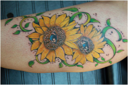 sunflower eye tattoo
