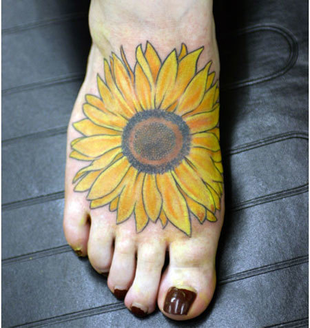 sunflower foot tattoo designs
