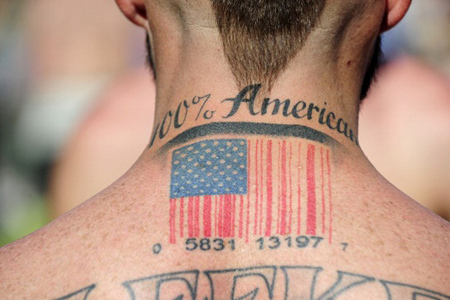 American Flag Barcode Tattoo Design
