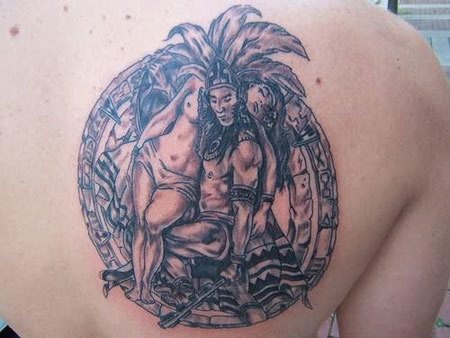 Aztec Chief with Unconscious Woman Tattoo