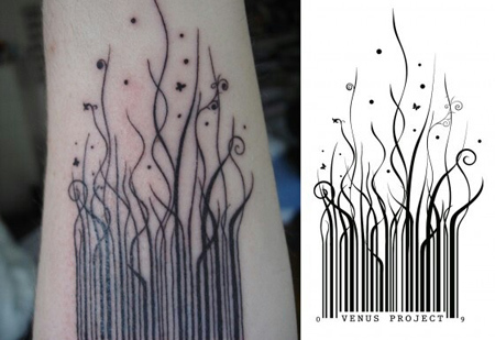 Barcode Growing into Grass Tattoo Design