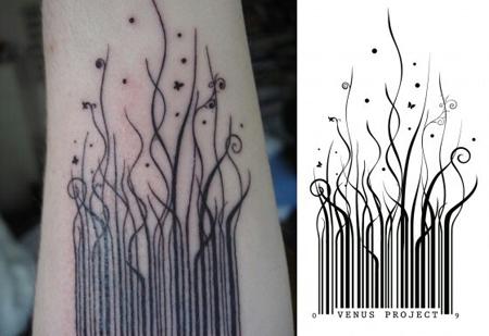 Barcode Growing into Grass Tattoo Design