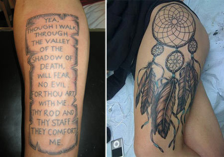 Biblical Verse on Scroll Tattoo