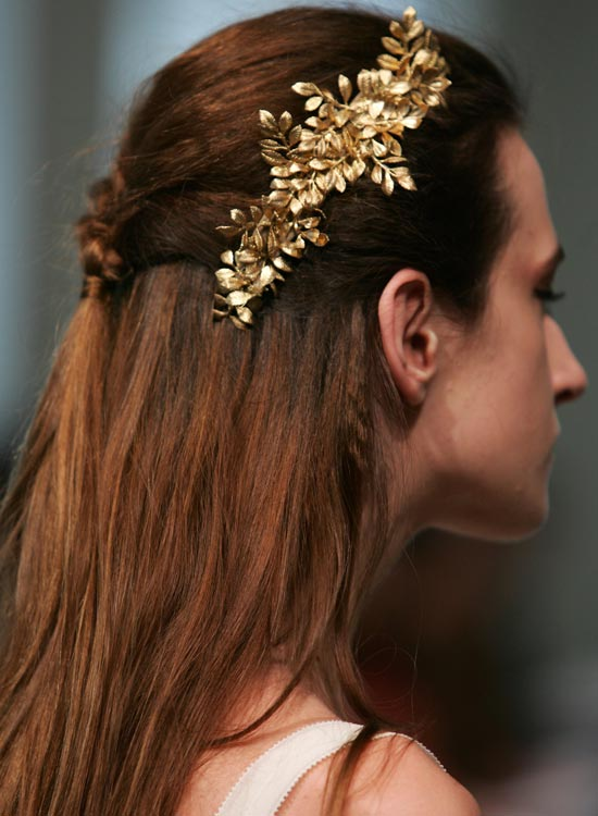 Braided Half Hairdo with Flowery Hair Brooch