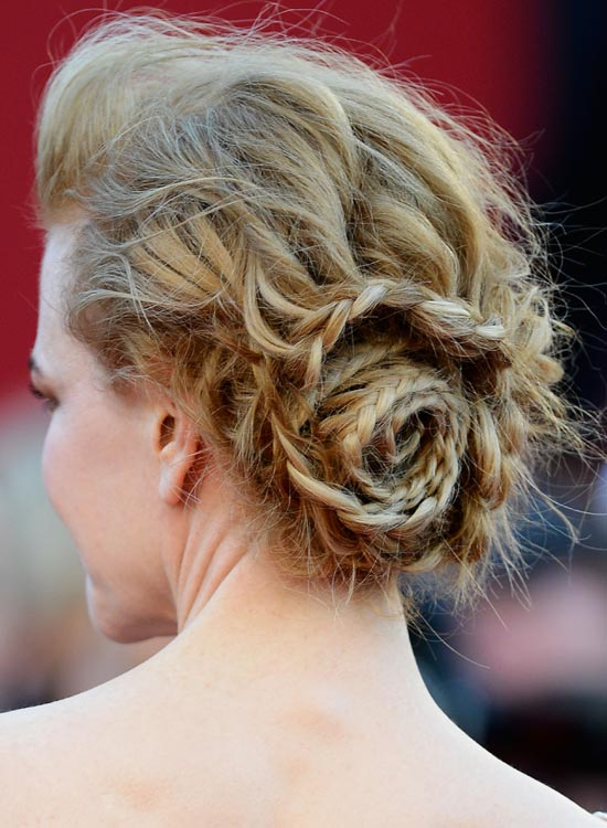 Braided Low Side Spiral Bun with Pouf and Messy Finish
