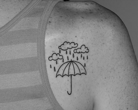 Clouds and Umbrellas Tattoo