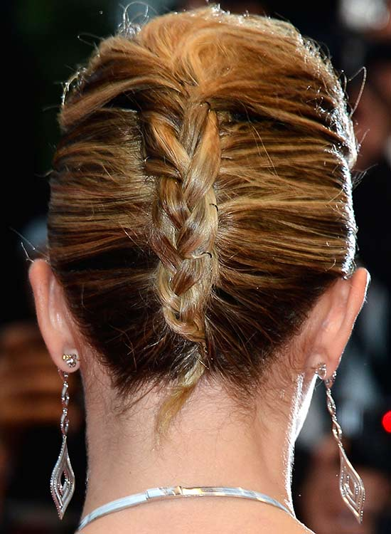 Double French Twist with Puffy Top and Braided End