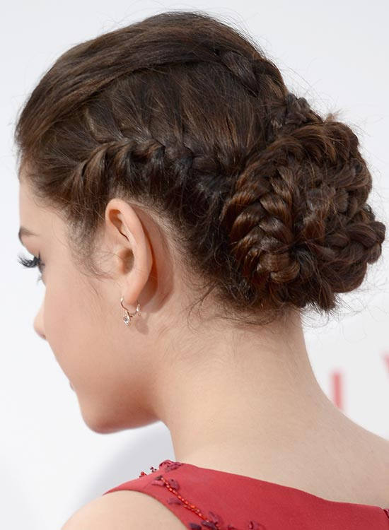 Elegant Multi-Braided Bun with Puffy Top