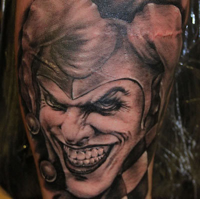 Evil Joker with Jester Hat Tattoo