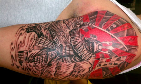 Fighting Samurai Design Tattoo