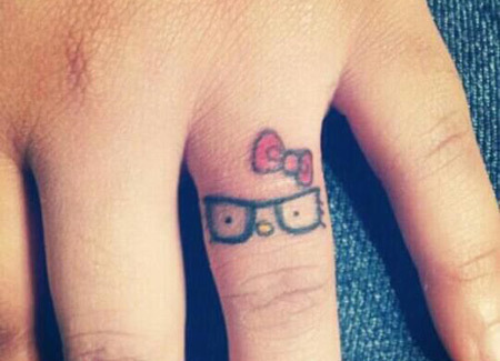 Finger Kitty Tattoo