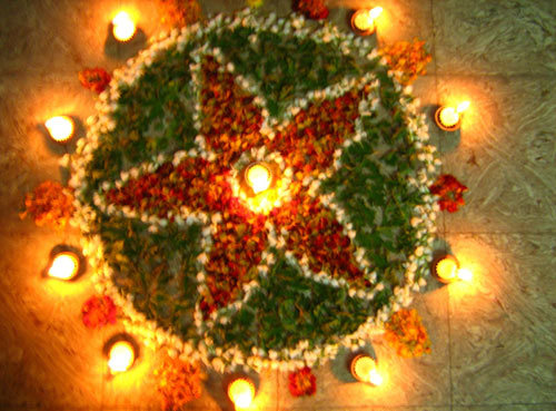 Flower made of Flowers Rangoli