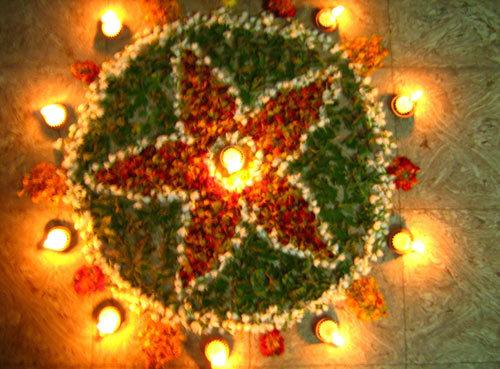 Flower made of Flowers Rangoli