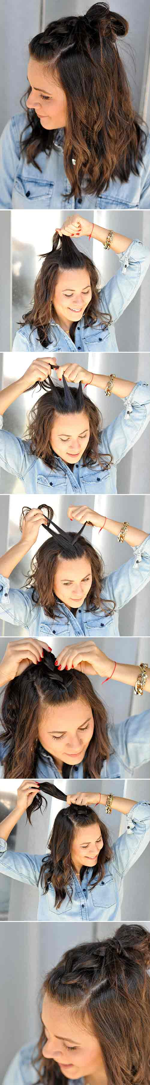 French Braid WIth A Top Knot