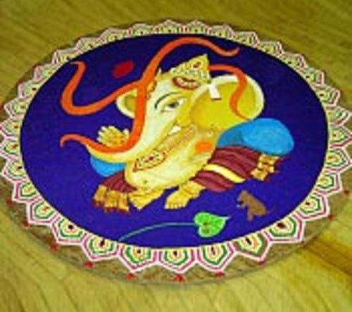 Ganesha Rangoli with Swastika