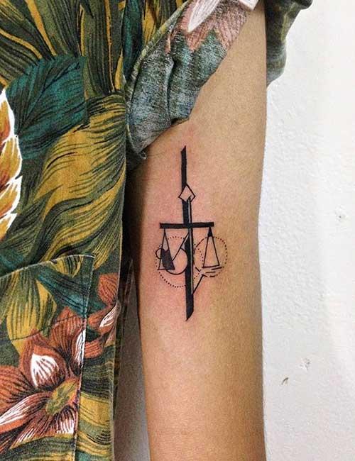 Geometric Libra Tattoo