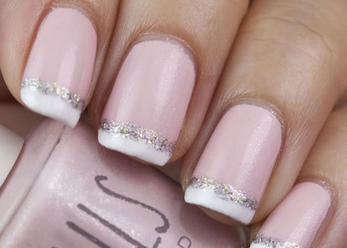 7. Glittering French Tips Nail Design