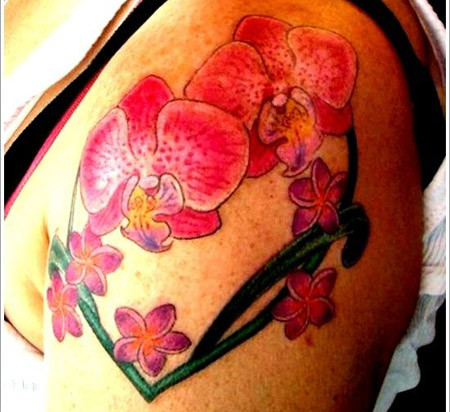 Heart Shape Orchid Tattoo