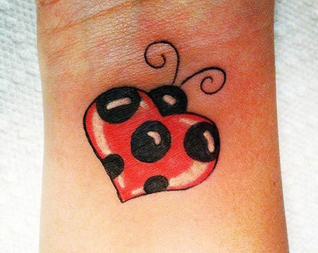 Heart Shaped Ladybug Tattoo