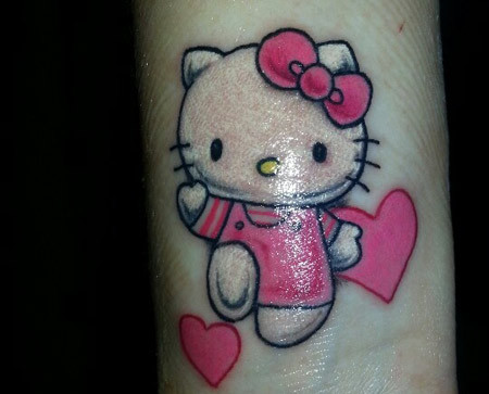 Hearts and Kitty Tattoo