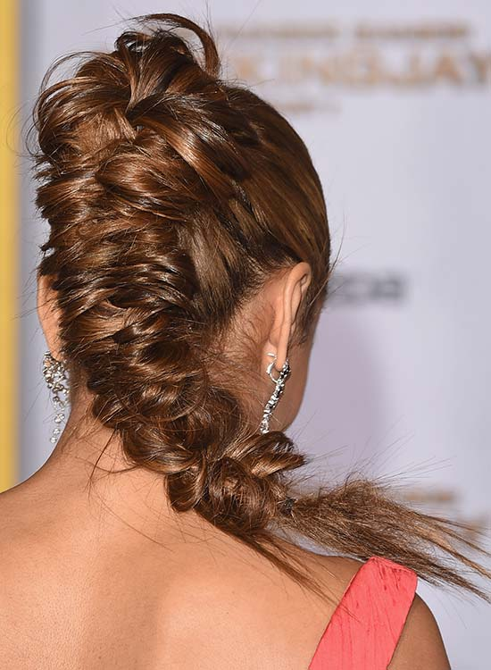 High Tight and Messy Fishtail Braid with Flowery Top