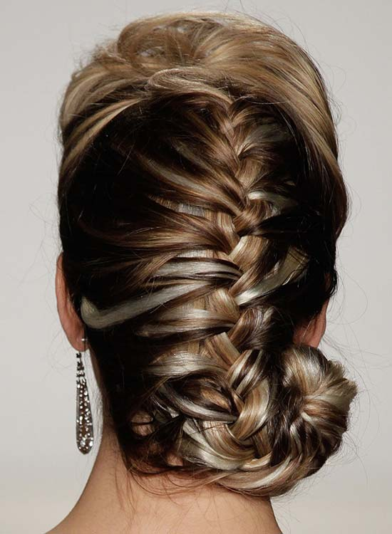 Highlighted French Braid with Puffy Top and Spiral Ends