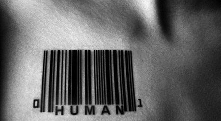 Human Inscription with Barcode Tattoo Design