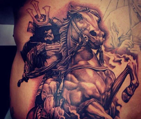 Japanese horse mounted Samurai Barcode tattoo