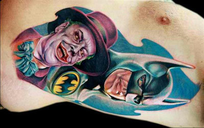 Joker with Batman Tattoo