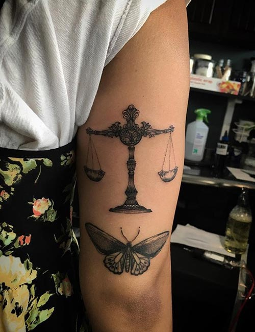 Libra Tattoo With A Butterfly