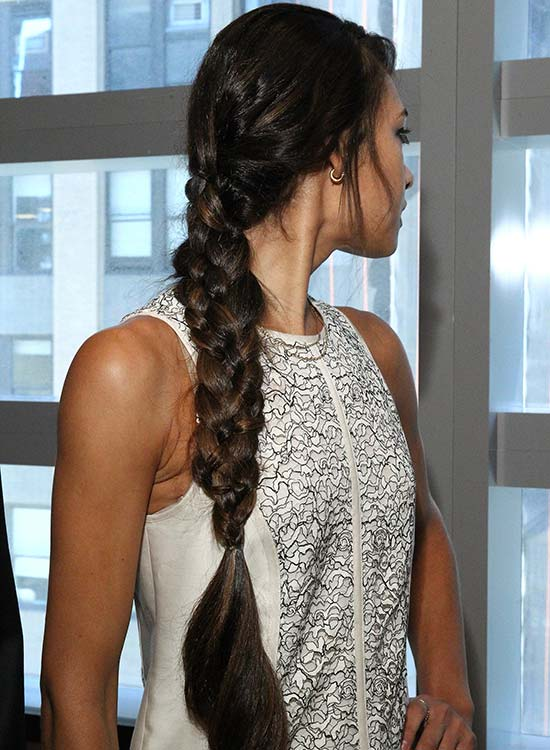 Long Four Strand Braid With Bangs And Spiral Ends: