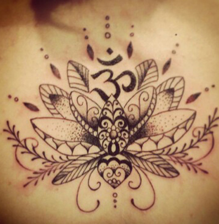 Lotus with Aum Tattoo