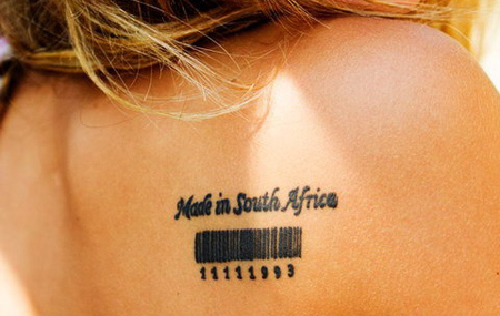 Made in and Birth Date Barcode Tattoo Design