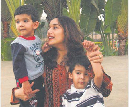 Madhuri with her kids