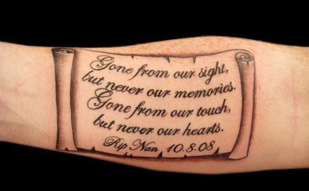 Memorial on Scroll Tattoo