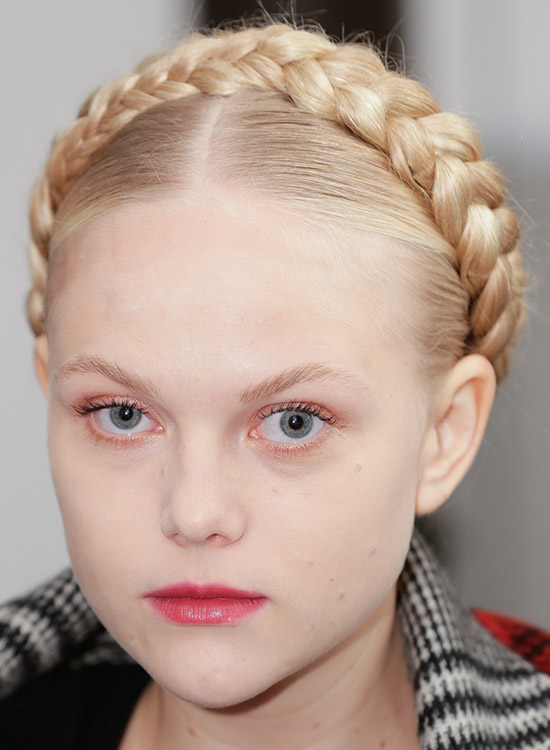 Middle Parted Hair With Thick Braided Wraparound