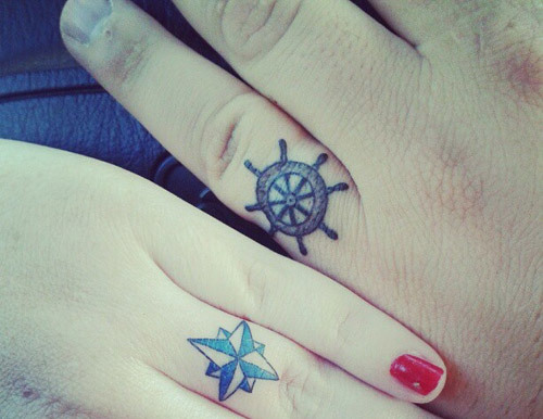 nautical wedding bands tattoo designs
