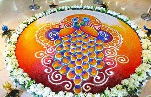 Peacock and Flowers Rangoli
